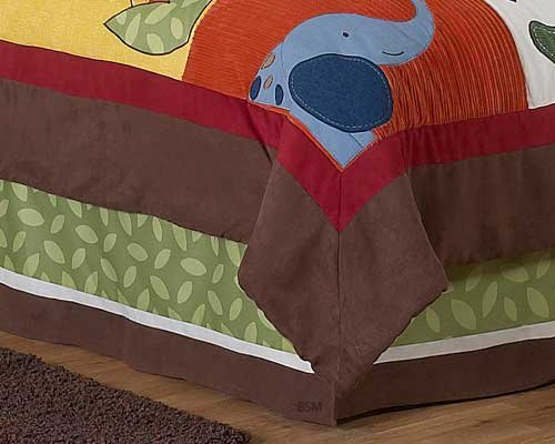 - Queen Kids Childrens Bed Skirt for Jungle Time Bedding Sets by Sweet Jojo Designs