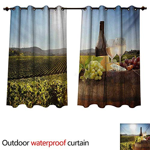 WilliamsDecor Wine Outdoor Curtains for Patio Sheer White Wine with Barrel on Famous Vineyard in Chianti Tuscany Agriculture W96 x L72(245cm x 183cm) -