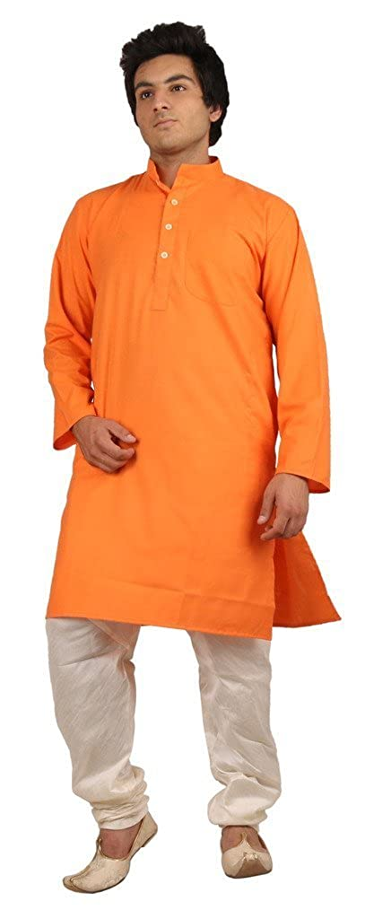 Royal Men's Bright Orange Ehtnic Clothing For Summer's ROYAL-108-ORANGE-KP-