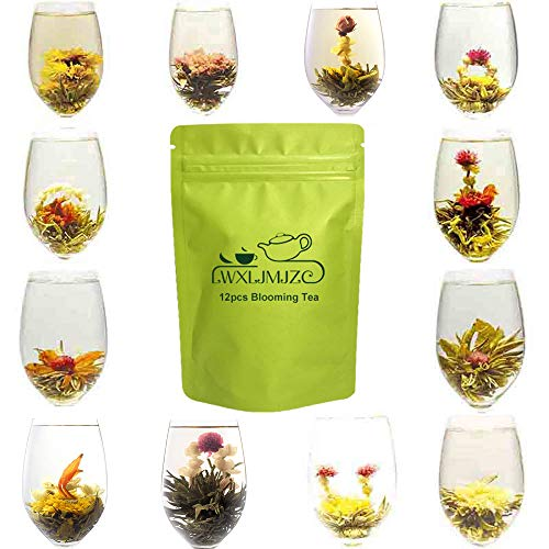 LI Da Tea House Blooming Flowering Tea,Green Tea Flowers with Natural Jasmine,12pcs-36 Steeps,Makes 250 Cups ()