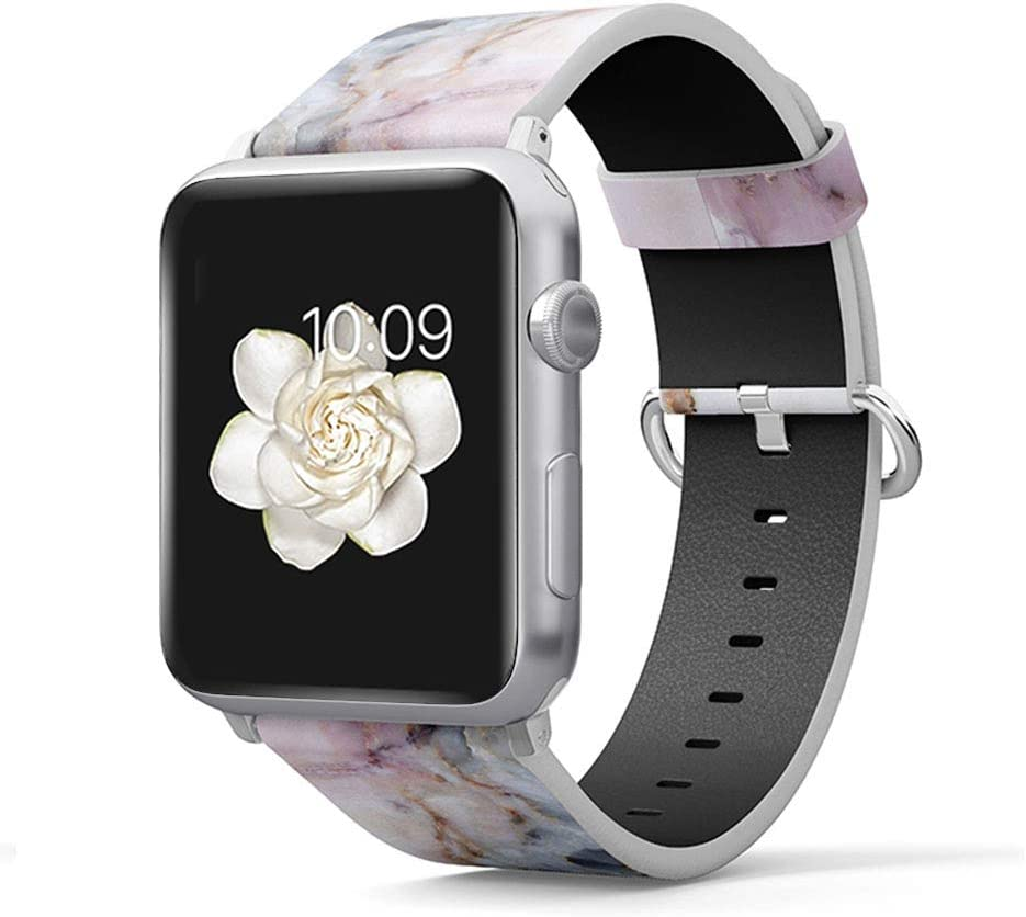 Leather Band Compatible for iWatch 38mm 40mm Strap Pattern Printed Replacement Wristband for Apple Watch Band Smartwatch Series 4 3 2 1 Version (PU Leather-Pink Marble, 38mm/40mm)