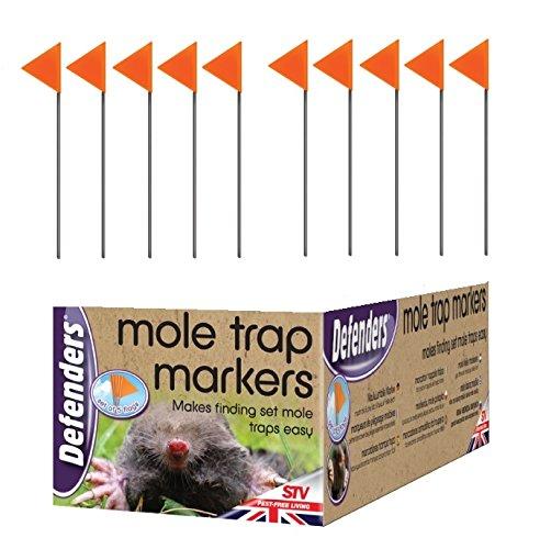 2 x Set Of 5 Defenders Hi Viz Easy Find Mole Trap Markers Orange Flags UV Resistant
