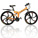 Outroad Mountain Bike 6 Spoke 21 Speed 700CC Shining SYS Double Disc Brake Suspension Fork Rear Suspension Anti-Slip Aluminium Alloy Folding Bike (Orange, 26 in)