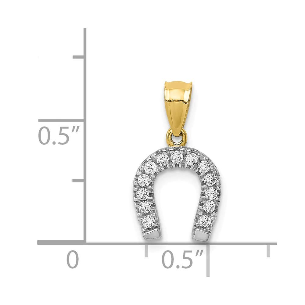 10k Yellow with White Rhodium Two-tone Gold CZ Horse Shoe Pendant