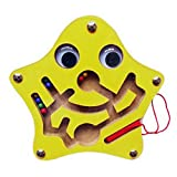 Mini Round Wooden Round Magnetic Wand Maze Puzzle Interactive Maze Magnet Beads Maze on Board Game Eduactional Handcraft Toys Star