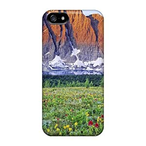 Anti-scratch And Shatterproof Stark Mountain Over A Flowery Meadow Phone Case For Iphone 5/5s/ High Quality Tpu Case