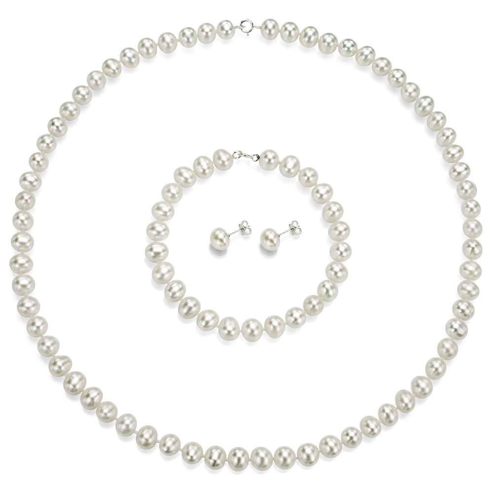 Sterling Silver 7-7.5mm White Freshwater Cultured Pearl Necklace, Bracelet and Stud Earrings Set