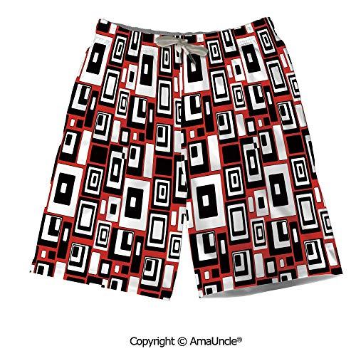 AmaUncle Personalized Beach Shorts Boardshorts for Men,Minimalist Geometric Figures Retro