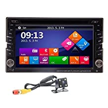 Ouku® Rear View Backup Camera Included 2015 New Model Windos Win 8 UI Design 6.2-Inch Double-2 DIN In Dash Touch screen LCD Monitor with DVD/CD/MP3/MP4/USB/SD/AMFM/RDS/Bluetooth and GPS Navigation SAT NAV Head NO Map Card