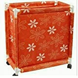 HOMIES INTERNATIONAL Fabric Multipurpose European Style Floral Foldable Trolley Laundry Basket with Wheels and Lid (34 x 34 x 67 cms, Orange)