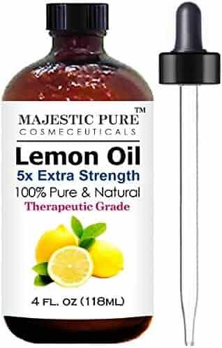 Majestic Pure Lemon Essential Oil for Aromatherapy, 5x Extra Strength, 4 fl. Oz