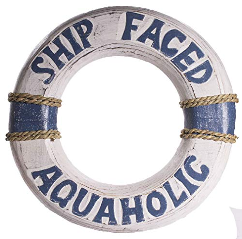 Faced Wooden Ring - Chengshang Long Home Funny Nautical Decoration 12 Inch Wooden Life Ring Ship Faced Aquaholic
