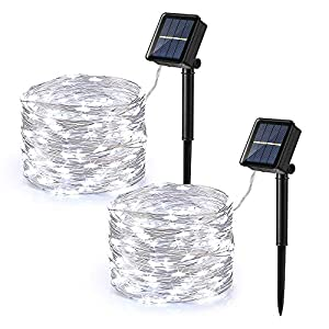 Brizled Outdoor Solar Fairy Lights, Solar String Lights 39.37ft 120 LED 2 Pack, 8 Modes Solar Christmas String Lights…