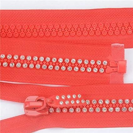 Maslin 1 Pcs 60cm Rhinestone Zipper Shiny Open-End Zippers For Sewing Diy Jacket Coat Clothing Accessorise Color: beige, Size: 60cm