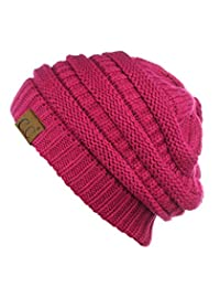 Trendy Warm Chunky Soft Stretch Cable Knit Beanie Skully, Hot Pink