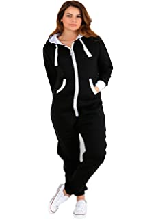 f4aaaedfe28 Parsa Fashions ® Womens Plain Zipper Onesie Ladies Onepiece All in One  Hooded Zip Up Overall…