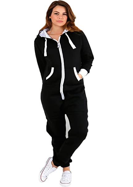 bcfbf2e9447 MALAIKA ® Womens Plain Zipper Onesie Ladies Onepiece All in One Hooded Zip  Up Overall Plus Sizes Jumpsuit Playsuit Small-5XL (UK 8 - UK 22)   Amazon.co.uk  ...