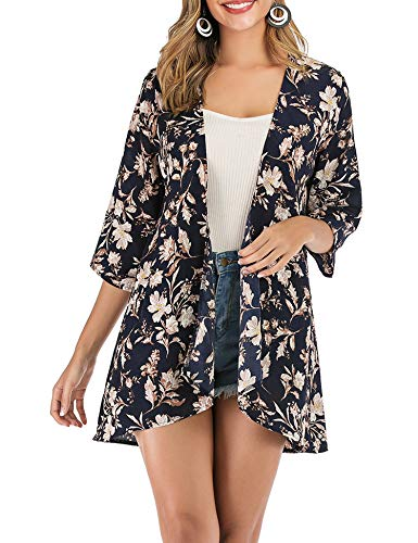 (PopStore Women's Floral Print Sheer Kimono Cardigan Capes Chiffon 3/4 Sleeve Patchwork Casual Cover up Blouse Tops Cyan-Blue)