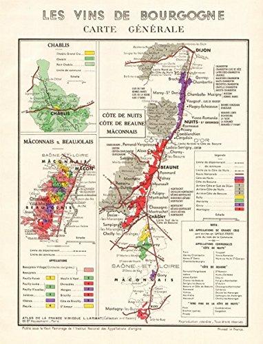 Burgundy Cote (BURGUNDY BOURGOGNE WINE MAP Carte Générale. Côte de Nuits Beaune &c. LARMAT - 1953 - old map - antique map - vintage map - printed maps of France)