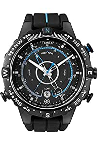 Timex Men's T49859 Intelligent Quartz Compass Tide Temperature Silver Case Black Strap Watch