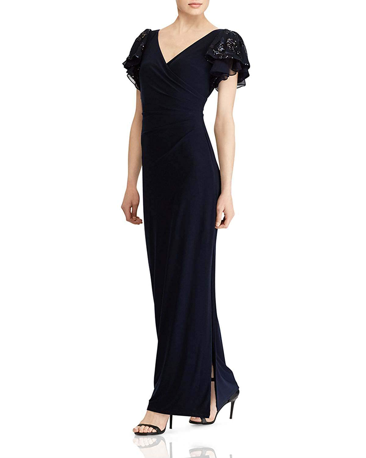 Black Wanshaqin Women's Embellished Flutter Caps Sleeves Evening Formal Gown Wedding Party Dress Pleated VNeck