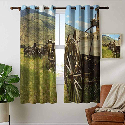Atwood Louisa Barn Wood Wagon Wheel Room Darkening Blackout DrapesLine of Antique Carriages in Rural Village Farm and Hills Blackout Curtains Panels for Bedroom W38 x L54 Inch Green Bro Wn Pale Blue ()