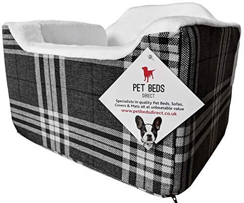 Pet Beds Direct Autositz für Hunde und Haustiere, Reisekorb, Sicherheitsgeschirr, Autositz, Größe M, 32 x 55 x 55 cm, kariert