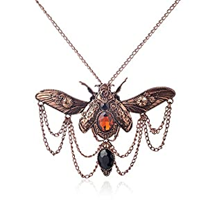WeiVan Vintage Gothic Steampunk Scarab Beetle Necklace with Chain Drop Black Stone