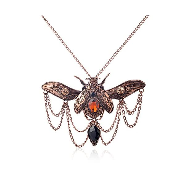 WeiVan Vintage Gothic Steampunk Scarab Beetle Necklace with Chain Drop Black Stone 3