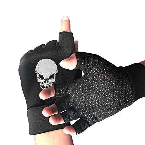 (LINGDANMIAO Non-Slip Half Finger Cycling Gloves Skull Skeleton Exercise Gloves for Gym Weight Lifting Training Fitness Biking)