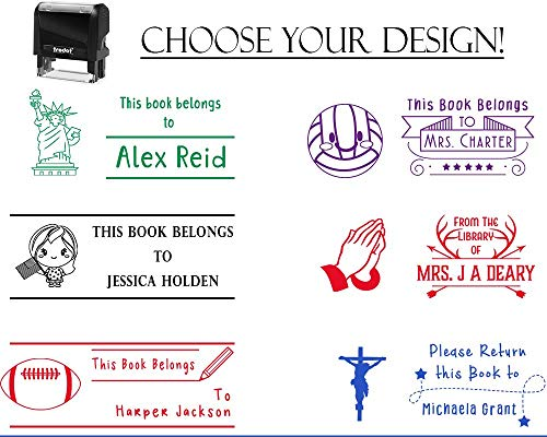 Self Inking Stamp Book Belongs to Sports Team Inspired - 4th July - Church, Bible, Basketball or Baseball - Many Options 7/8