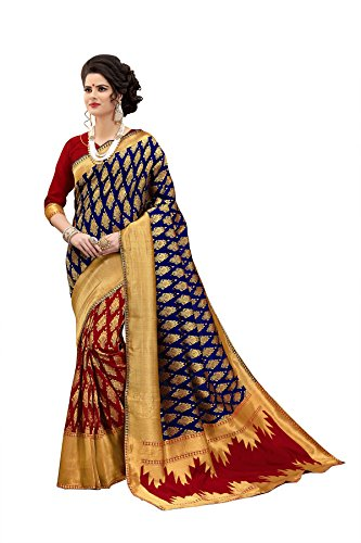 n Work Banarasi Art Silk Saree for women With Unstitched Blouse Piece (Navy Blue & Red) (Kanchipuram Sarees)