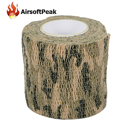 Camo Form Wrap Camo Grip Tape - Army Elastic Stealth Tape Military Waterproof Camouflage Camo Wrap Tapes Paintball Gun Shooting Stretch Bandage Hunting Tools - Self Grip Bandage (Woodland Camo)