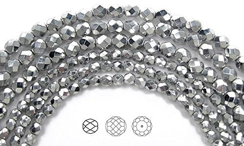 8mm (153 beads) Crystal Labrador Silver Fully Coated, Czech Fire Polished Round Faceted Glass Beads, 3x16 inch strand