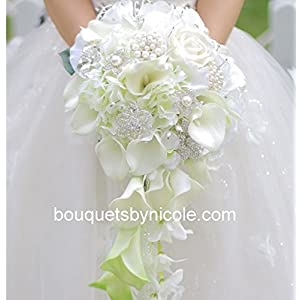 Made to order Brooch Bouquet Wedding Bridal Flowers Silk Flowers Real Touch Calla Lilies 12