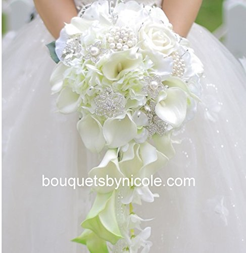 Made-to-order-Brooch-Bouquet-Wedding-Bridal-Flowers-Silk-Flowers-Real-Touch-Calla-Lilies