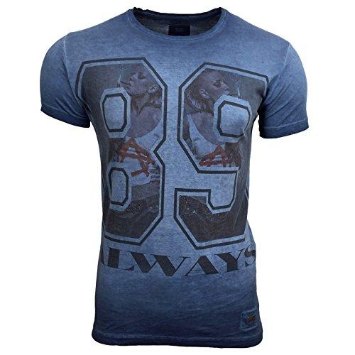 T-Shirt Kurzarm Herren Rundhals Stone Washed Optik Batik Shirt RN-16731 AVRONI, Größe:XXL, Farbe:Blau