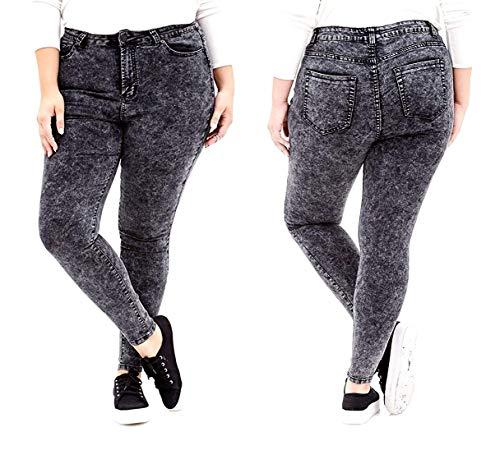 Jack David/GAZOZ Womens Plus Size Stretch Distressed Ripped Blue Skinny Denim Jeans Pants (18, Jack David-Y1672a Black Acid Wash) (Plus Size Acid Wash Jeans)