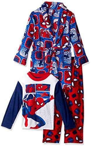 Marvel Boys' Big Spiderman 3-Piece Robe Pajama Set, Comic Webs, -