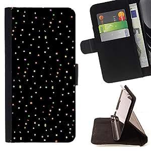 BullDog Case - FOR/Samsung Galaxy S6 / - / stars dots black fabric pattern clean /- Monedero de cuero de la PU Llevar cubierta de la caja con el ID Credit Card Slots Flip funda de cuer