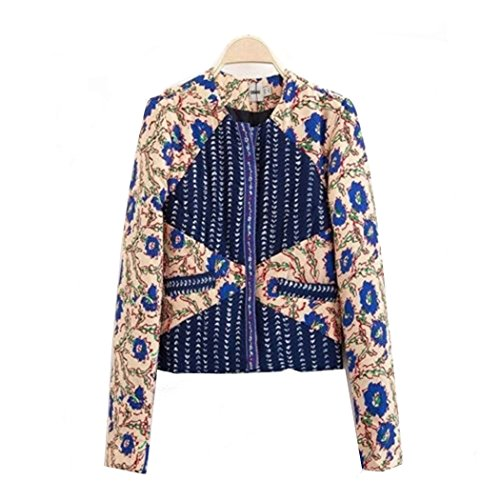Women's Embroidered Trim Floral Mix Print Cropped Padded Open Front Jacket (L)