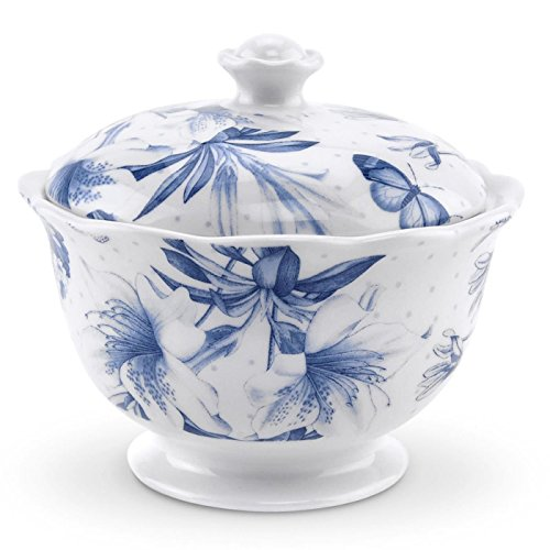 Botanic Sugar Covered Garden Bowl - Botanic Blue Covered Sugar Bowl
