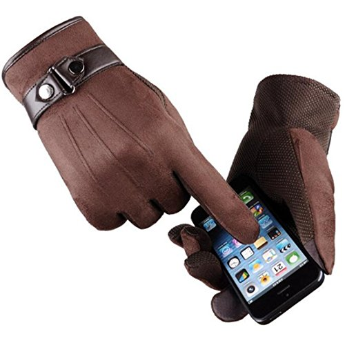 Suede Leather Mens Brown (Yingniao Men's Touchscreen Gloves Suede Leather Lined Winter Warm Outdoor Gloves Brown)