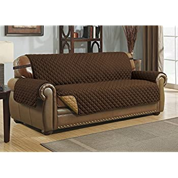 Merveilleux Le Benton Reversible Extra Wide Sofa Cover, Quilted Pet Couch Protector,  Slipcover, (Oversized: Sofa, Brown/Taupe)