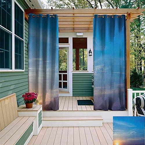 DONEECKL - Cortina impermeable para exteriores, color amarillo y azul con chanclas en un muelle de madera, alegre día festivo, viaje, con imagen relajada, aislada con arandelas para recámara, azul cielo, amarillo
