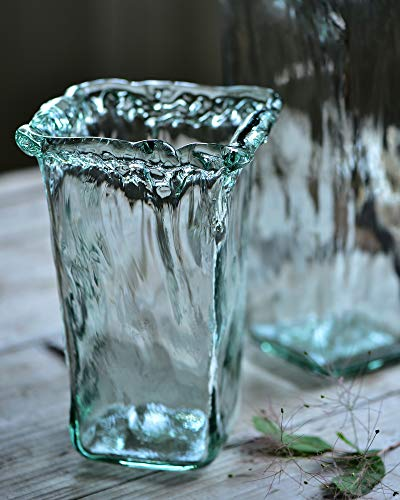 Cyl Home Vases Handblown Flared Wide Mouth Flower Arrangement Glass Vase Turquoise Decor for Dining Living Room Table Centerpieces Wedding Accent Gift, Square Bottom, 8.7'' H x 3.5'' D (Turquoise Arrangements Flower)
