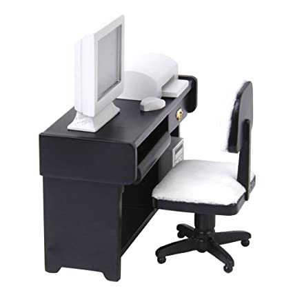 Pleasing 1 12 Dollhouse Miniature Furniture Computer Desk Chair Printer Set By Generic Ibusinesslaw Wood Chair Design Ideas Ibusinesslaworg