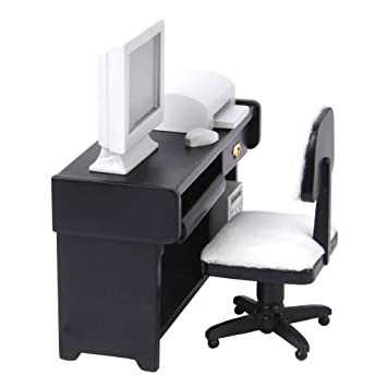 Amazon.es: Casa De Mu?ecas Muebles En Miniatura Impresora Silla De ...