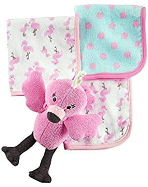 Baby Girls' Flamingo Toy & Washcloth Set