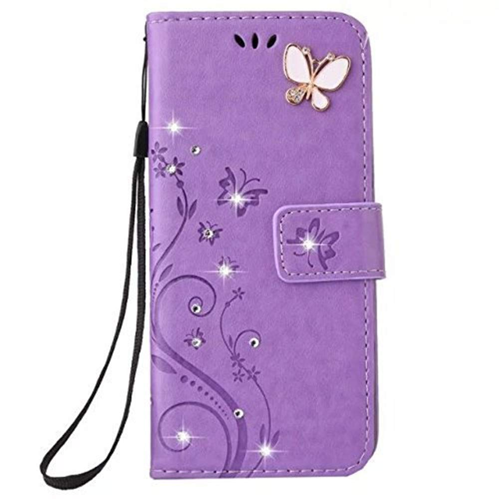 Lozeguyc Galaxy S10 Bling Handmade Crystal Rhinestone Case,3D Beauty Lucky Flowers Butterfly PU Leather Credit Card Kickstand Strip Wallet Cover for Samsung Galaxy S10-Purple